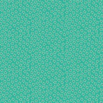 Makower Fabric - Henna - Dash Flower - Turquoise - 100% Cotton - 1/4m+