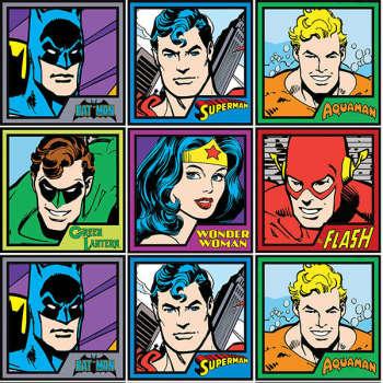 DC Comics Originals Fabric - Meet The Heroes - Block Panel - 100% Cotton