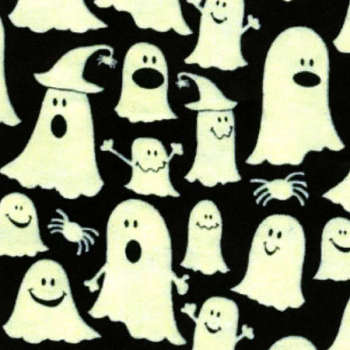 Timeless Treasures Fabric - Glow in the Dark Ghosts - Black - 100% Cotton