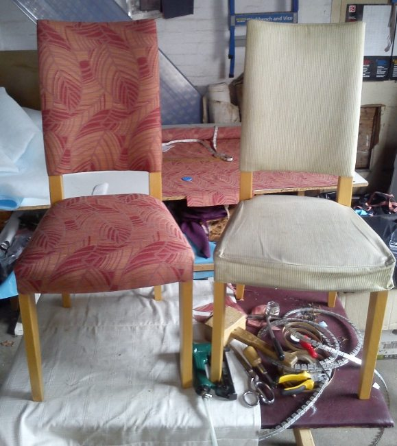 hand chairs before and after.