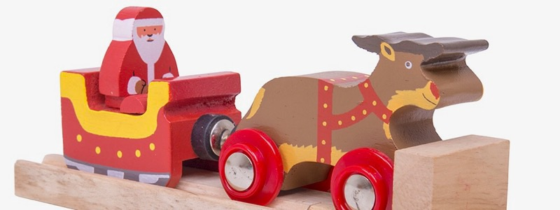 Wooden Railways Santa with Reindeer
