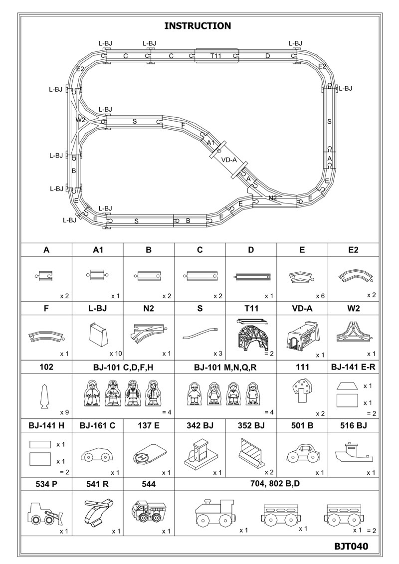 Service Train Table Track Layout Instructions BJT040