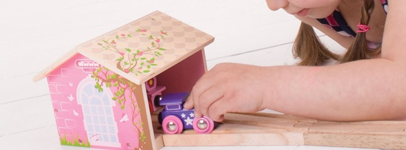 Wooden Railways Pink Engine Shed