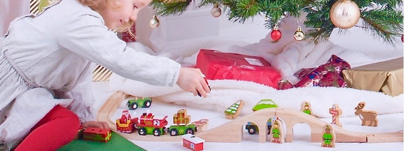 Wooden Railways Train Set under Christmas Tree