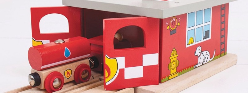 Wooden Railways Fire Rescue Shed