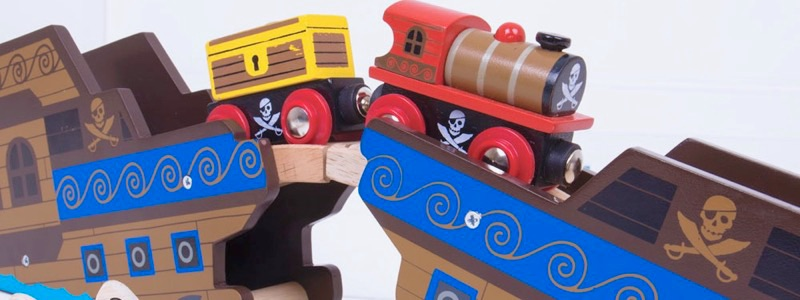 Wooden Railways Pirate Bridge and Train