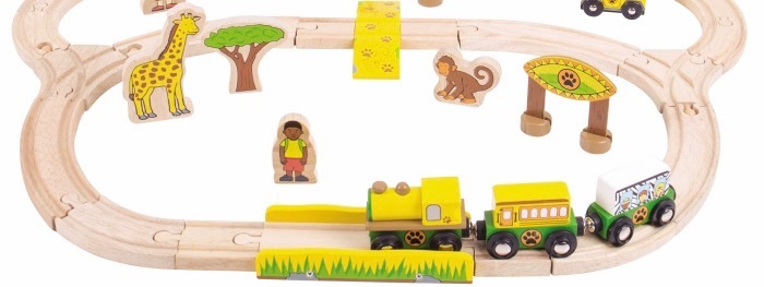 Wooden Railway Safari Train Set