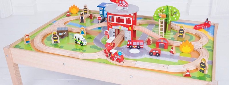 Wooden Railways Fire Station Train Table