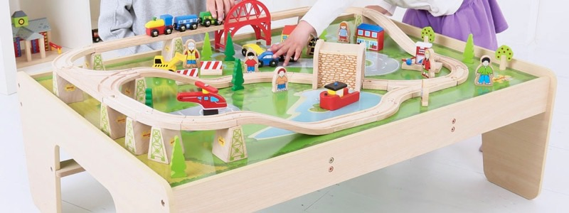 Wooden Railways Train Table with Trains