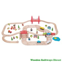 Bigjigs Railway Rural Road and Rail Train Set