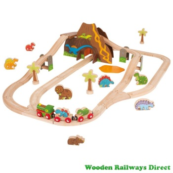 Bigjigs Wooden Railway Dinosaur Train Set