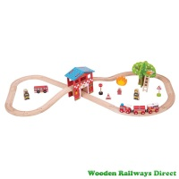 Bigjigs Wooden Railway Fire Station Train Set