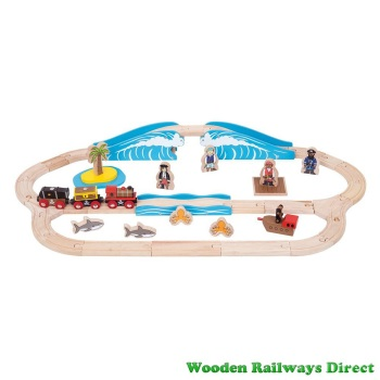 Bigjigs Wooden Railway Pirate Train Set