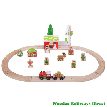 Bigjigs Wooden Railway Christmas Winter Wonderland Train Set
