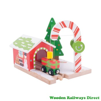 Bigjigs Wooden Railway Christmas Candy Crane