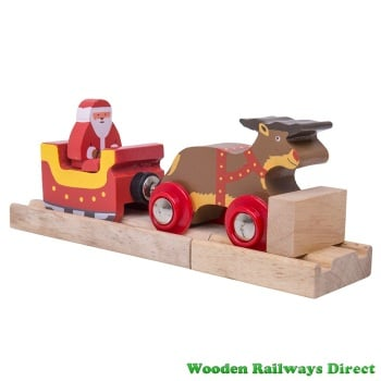Bigjigs Wooden Railway Christmas Santa Sleigh with Reindeer