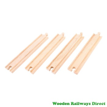 Bigjigs Wooden Railway Long Straight Track (Pack of 4)