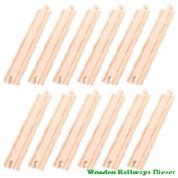 Bigjigs Wooden Railway Long Straight Track (Bulk Pack of 12)
