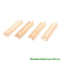 Bigjigs Wooden Railway Medium Straight Track (Pack of 4)