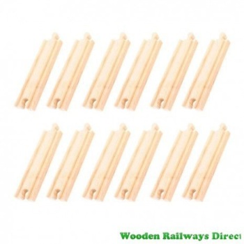 Bigjigs Wooden Railway Medium Straight Track (Bulk Pack 12)