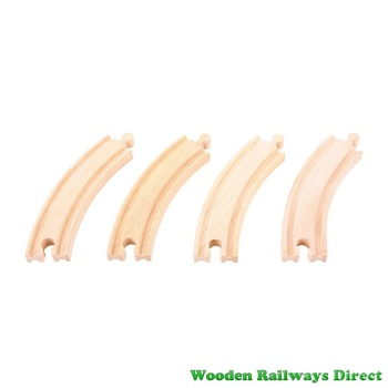 Bigjigs Wooden Railway Long Curves Track (Pack of 4)