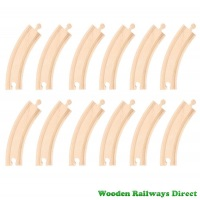 Bigjigs Wooden Railway Long Curves Track (Bulk Pack 12)