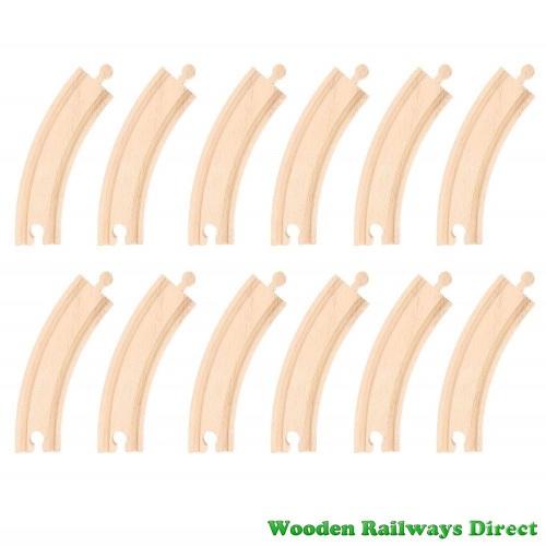 Bigjigs Wooden Railway Long Curves Track (Bulk Pack 12)