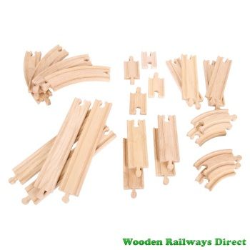 Bigjigs Wooden Railway Curves and Straights Expansion Track Pack
