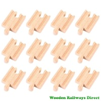 Bigjigs Wooden Railway Mini Track Male/Female Ends (Bulk Pack 12)