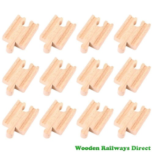 Bigjigs Wooden Railway Mini Track Male/Female Ends (Bulk Pack 12)