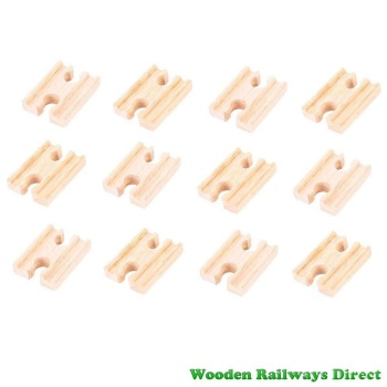 Bigjigs Wooden Railway Mini Track Female/Female Ends (Bulk Pack 12)