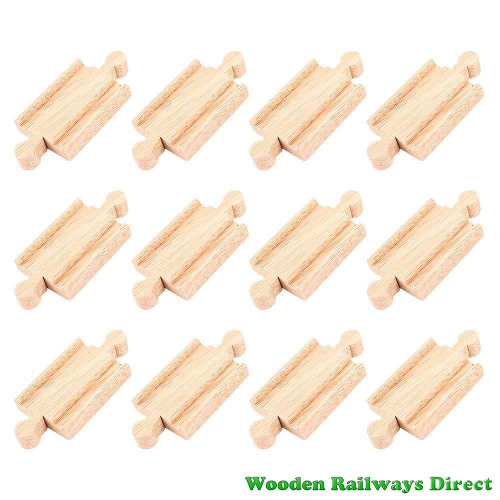 Bigjigs Wooden Railway Mini Track Male/Male Ends (Bulk Pack 12)