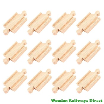 Bigjigs Wooden Railway Mini Track Male/Male Ends (Bulk Pack 12)