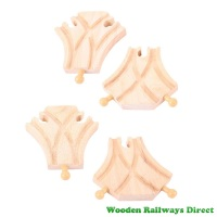 Bigjigs Wooden Railway Curved Turnout Track (Pack of 4)