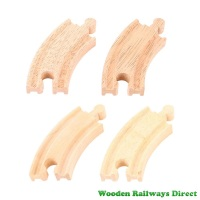 Bigjigs Wooden Railway Short Curved Track (Pack of 4)