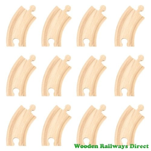 Bigjigs Wooden Railway Short Curve Track (Bulk Pack of 12)