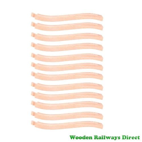 Bigjigs Wooden Railway Ascender and Descender Track (Bulk Pack of 12)