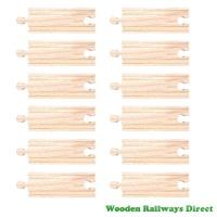 Bigjigs Wooden Railway Short Straight Track (Bulk Pack of 12)