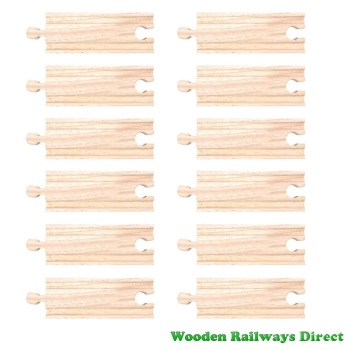 Bigjigs Wooden Railway Short Straight Track (Bulk Pack of 12)