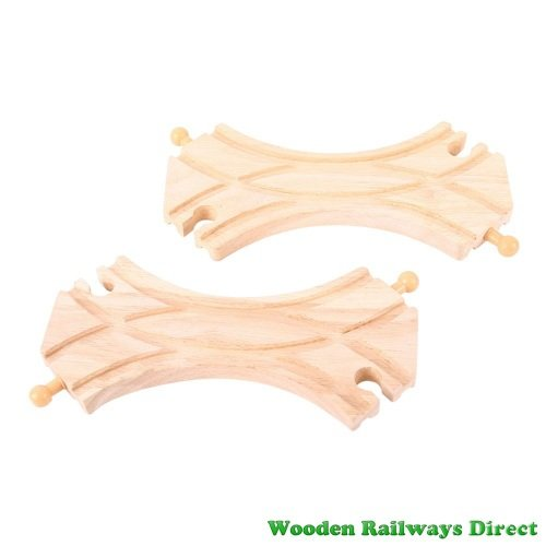 Bigjigs Wooden Railway Double Curved Turnout Track (Pack of 2)