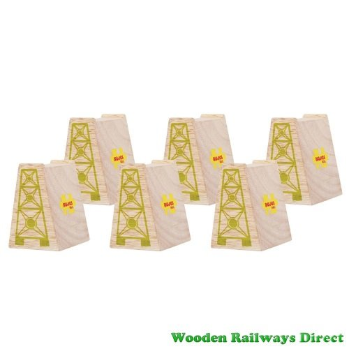 Bigjigs Wooden Railway High Level Blocks (Pack of 6)