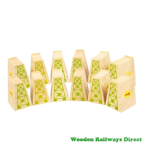 Bigjigs Wooden Railway High Level Blocks (Bulk Pack of 12)