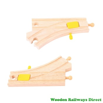 Bigjigs Wooden Railway Mechanical Switching Points (Pack of 2)