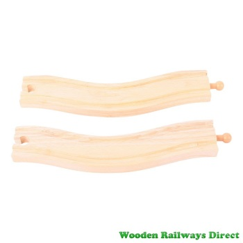 Bigjigs Wooden Railway Wavy Train Track (Pack of 2)