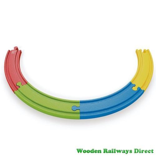 Hape Wooden Railway Rainbow Track (Pack of 4)