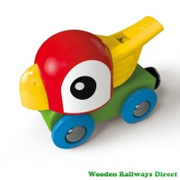 Hape Wooden Railway Whistling Parrot Engine