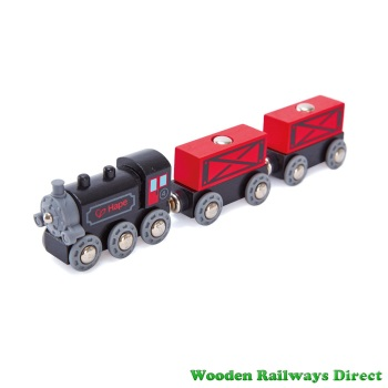 Hape Wooden Railway Steam-Era Freight Train