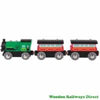 Hape Wooden Railway Steam-Era Passenger Train