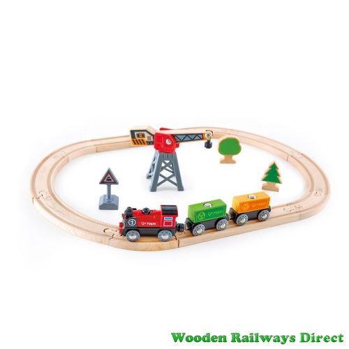 Hape Wooden Railway Cargo Delivery Loop Train Set with Battery Engine