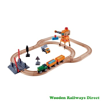 Hape Wooden Railway Crossing and Crane Train Set
